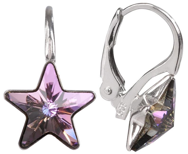 Troli Dívčí stříbrné náušnice Star 10 mm Vitrail Light