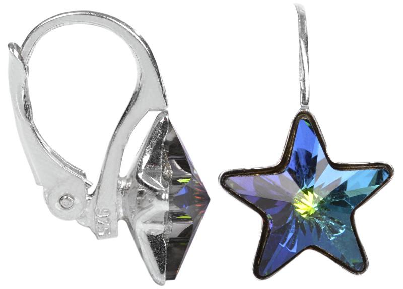 Troli Dívčí stříbrné náušnice Star 10 mm Vitrail Medium