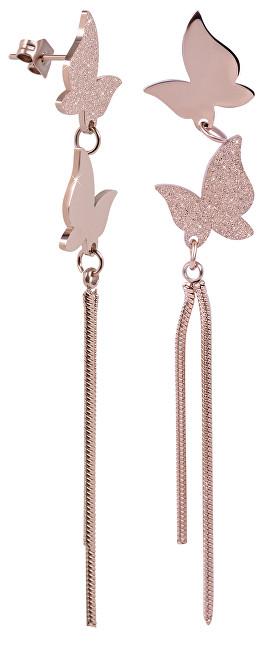 Troli Dlouhé bronzové motýlí náušnice z oceli