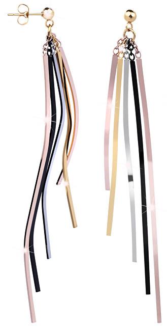Troli Dlouhé čtyřbarevné náušnice s pěti přívěsky