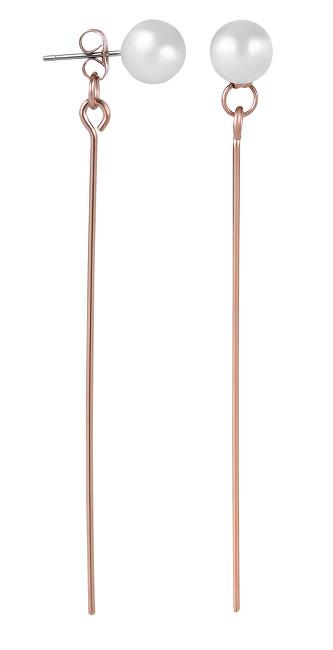 Troli Dlouhé růžově pozlacené ocelové náušnice s perličkami