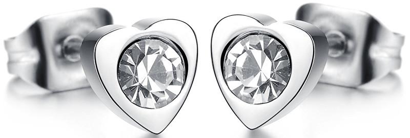 Troli Drobné srdíčkové náušnice s krystalem