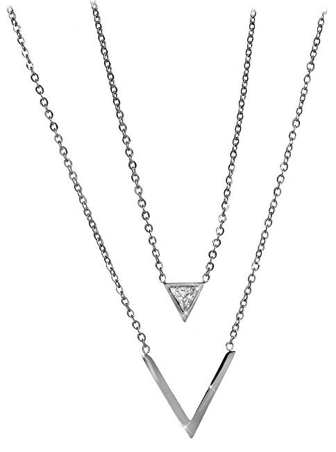57fdb969b Troli Dvojitý oceľový náhrdelník s trojuholníkmi