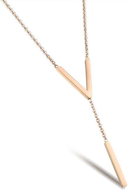 Troli Růžově pozlacený ocelový náhrdelník tvarovaný do
