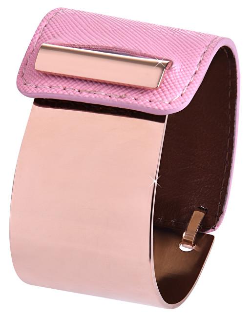 Troli Fashion náramek z oceli a kůže bronzový/růžový TO2330