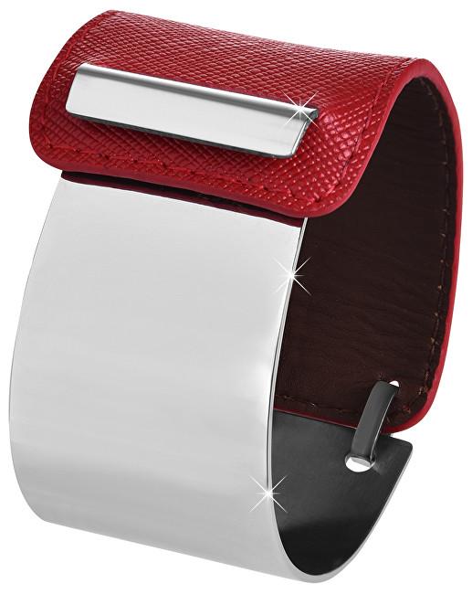 Troli Fashion náramek z oceli a kůže stříbrný/červený TO2329