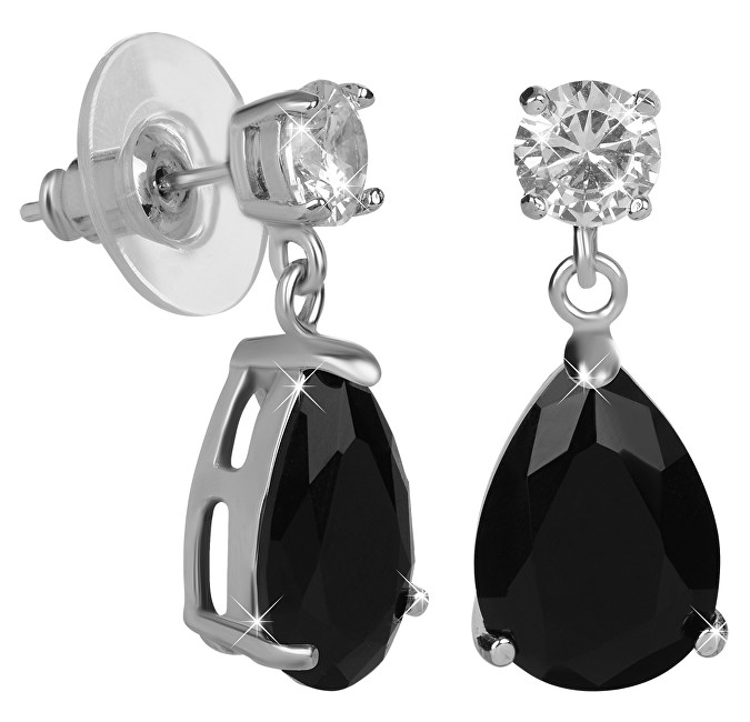 Troli Jiskřivé náušnice s černými krystaly TO2188 Troli