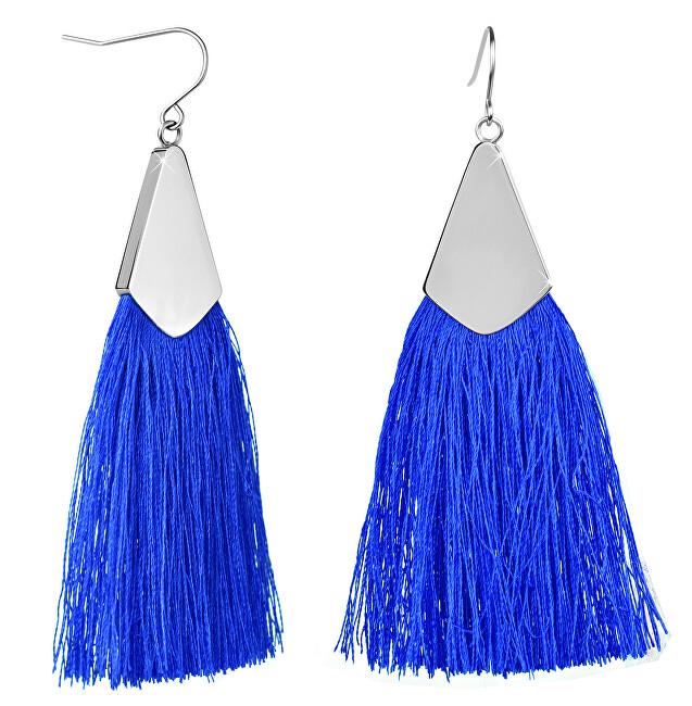 Troli Královsky modré náušnice střapce s ocelovým háčkem
