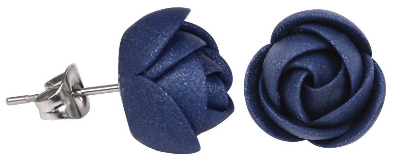 Troli Modré třpytivé náušnice puzetky kytičky