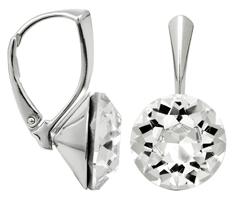 Troli strieborné náušnice Dentelle Crystal E120055KlAgRH Crystal
