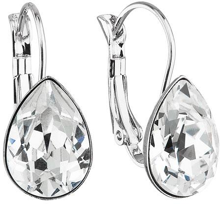 Troli Visací náušnice Pear Crystal