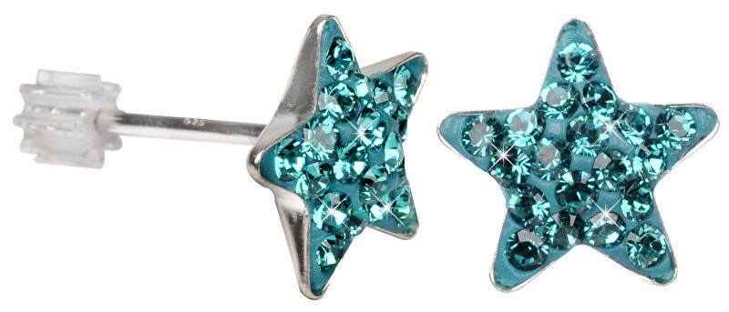 Troli Stříbrné náušnice Star PU10 Blue Zircon