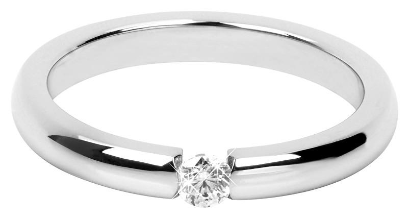 Troli Nežný oceľový prsteň s kryštálom 49 mm