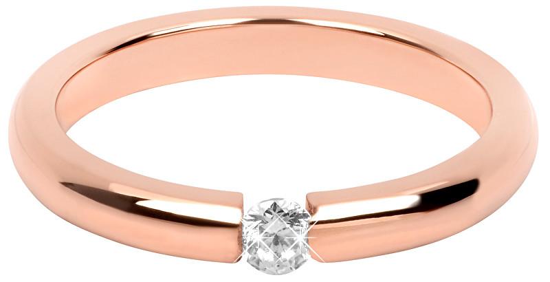 Troli Něžný růžově pozlacený ocelový prsten s krystalem TO2059