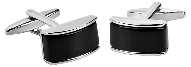 Troli Ocelové manžetové knoflíčky s černým středem