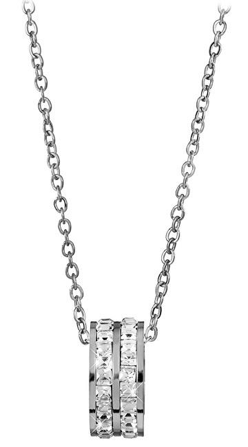 342619185 Troli Oceľový náhrdelník s kruhovým trblietavým príveskom