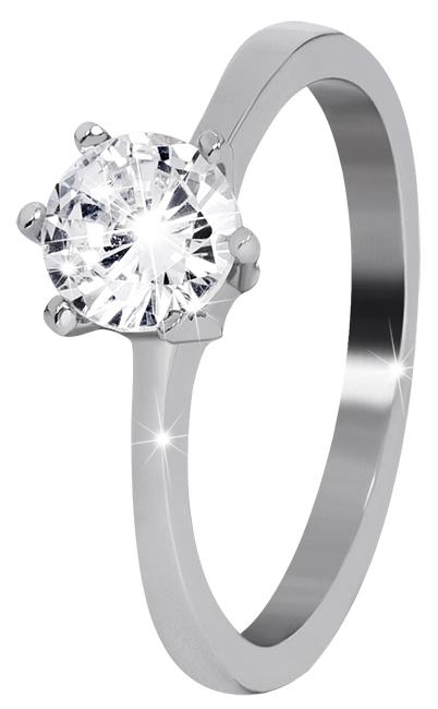 Troli Ocelový prsten s čirým kamínkem 57 mm