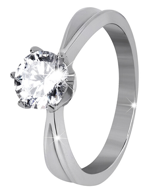Troli Ocelový prsten s třpytivým kamínkem 57 mm