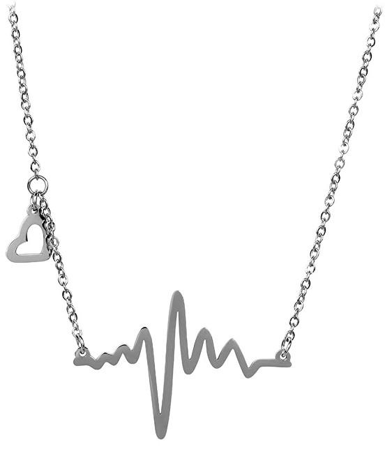 Troli Originální ocelový náhrdelník Srdeční tep KNSC-253
