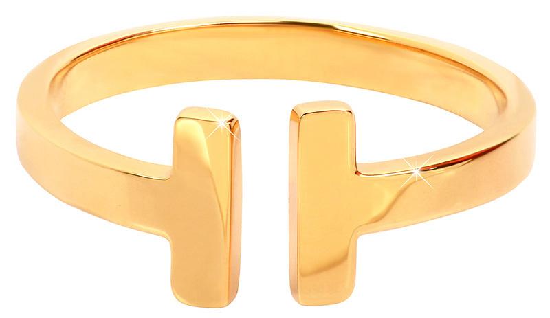Troli Otvorený pozlátený prsteň z ocele 28 gold