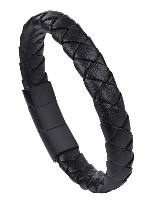 Troli Pánský černý náramek z kůže TO2411