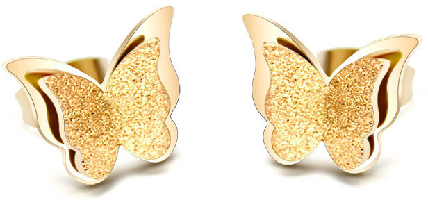 Troli Pozlacené motýlí náušnice Metal Butterfly KES-048-GOLD