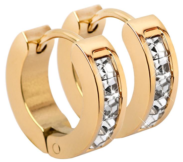 Troli Pozlacené ocelové náušnice kroužky s krystaly