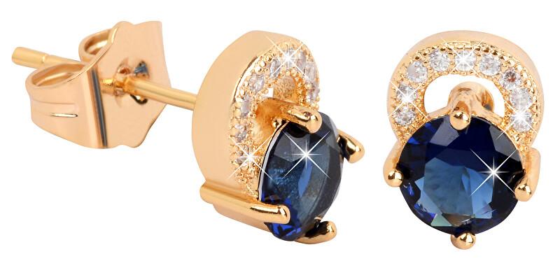 Troli Pozlacené náušnice s modrými krystaly TO2055