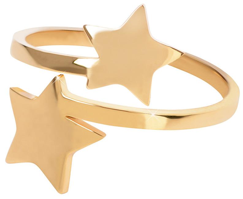 Troli Pozlátený oceľový prsteň s hviezdičkami