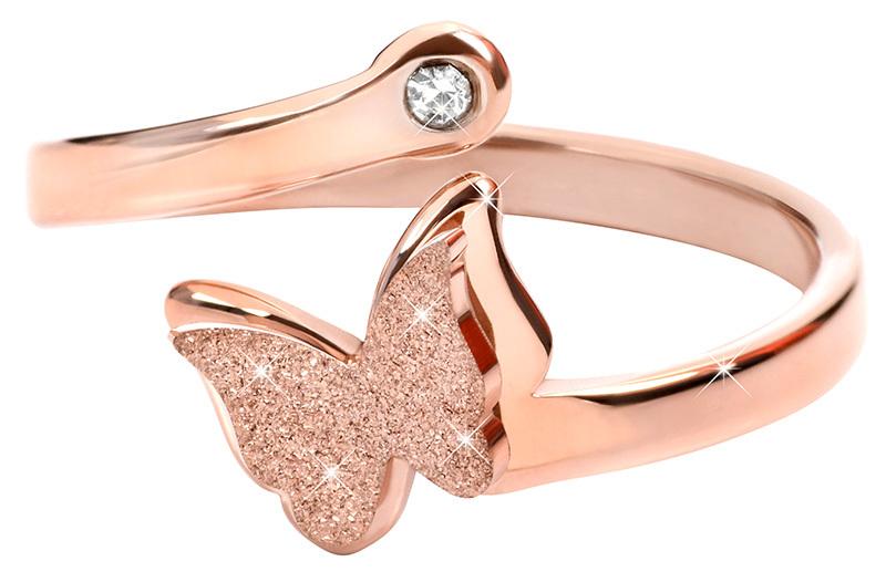 Troli bronzový prsten s motýlkem 87 rose gold TO1842