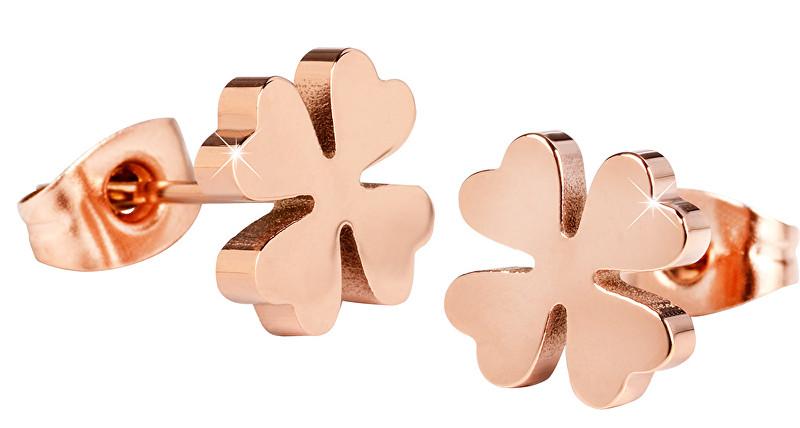 Troli Růžově pozlacené ocelové náušnice Čtyřlístky KE-001