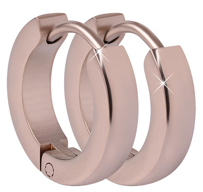 Troli Růžově pozlacené ocelové náušnice kroužky