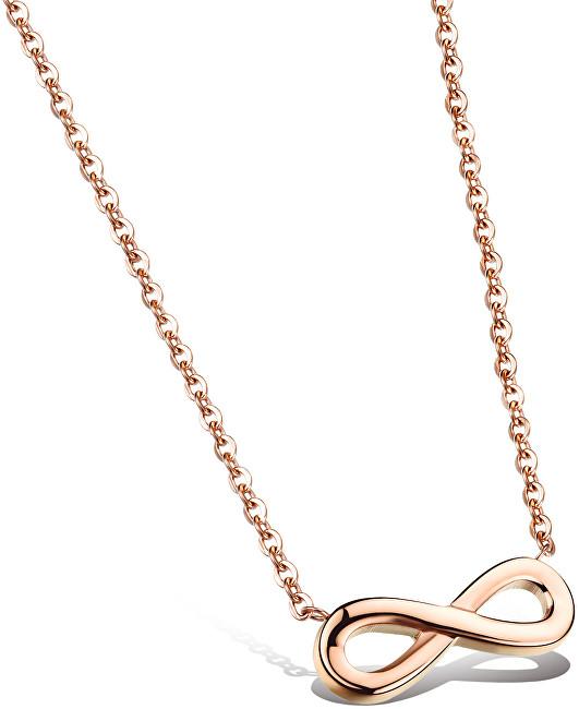 Troli Růžově pozlacený ocelový náhrdelník Nekonečno KNS-271