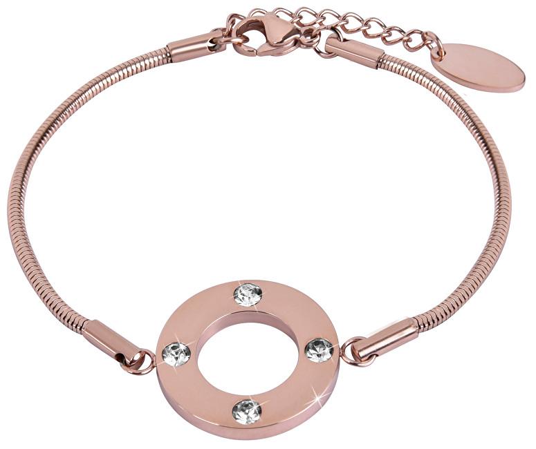 Troli Růžově zlacený ocelový náramek s krystaly TO2310