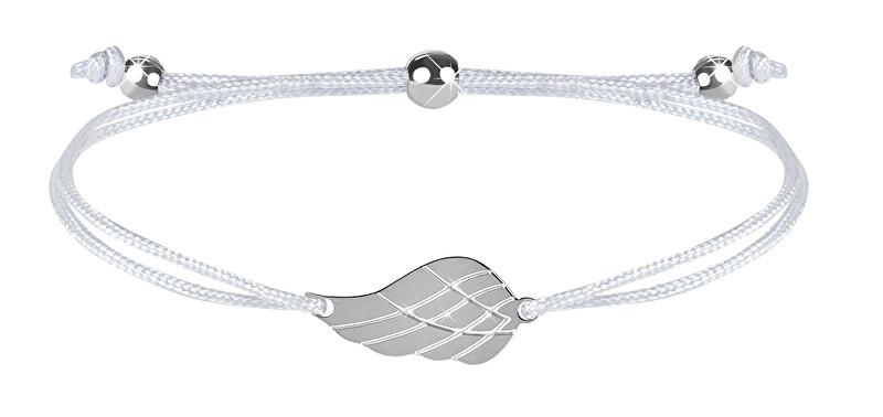 Troli Šňůrkový náramek s andělským křídlem bílá/ocelová TO2559 Troli
