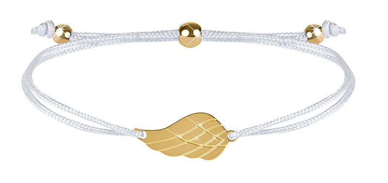 Troli Šňůrkový náramek s andělským křídlem bílá/zlatá TO2564 Troli