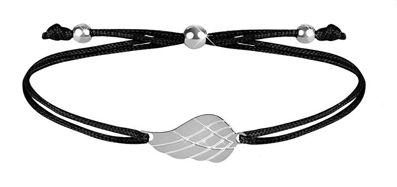 Troli Šňůrkový náramek s andělským křídlem černá/ocelová TO2558 Troli