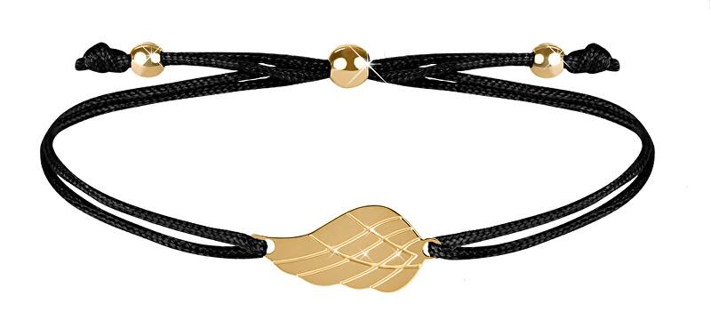 Troli Šňůrkový náramek s andělským křídlem černá/zlatá TO2563 Troli