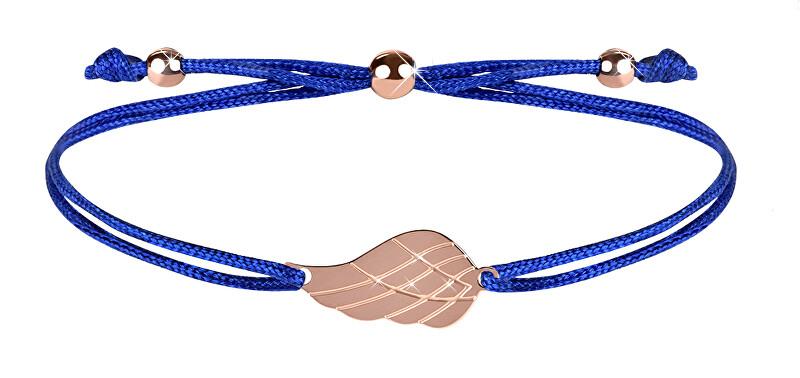 Troli Šňůrkový náramek s andělským křídlem modrá/bronzová TO2570 Troli
