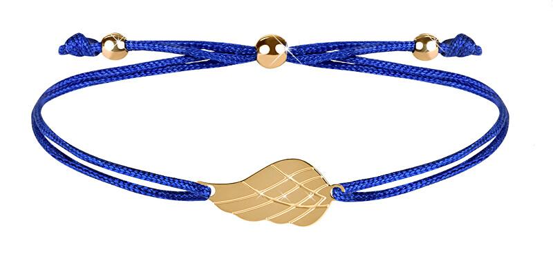 Troli Šňůrkový náramek s andělským křídlem modrá/zlatá TO2565 Troli