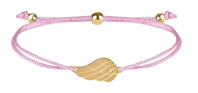 Troli Šňůrkový náramek s andělským křídlem růžová/zlatá TO2567 Troli