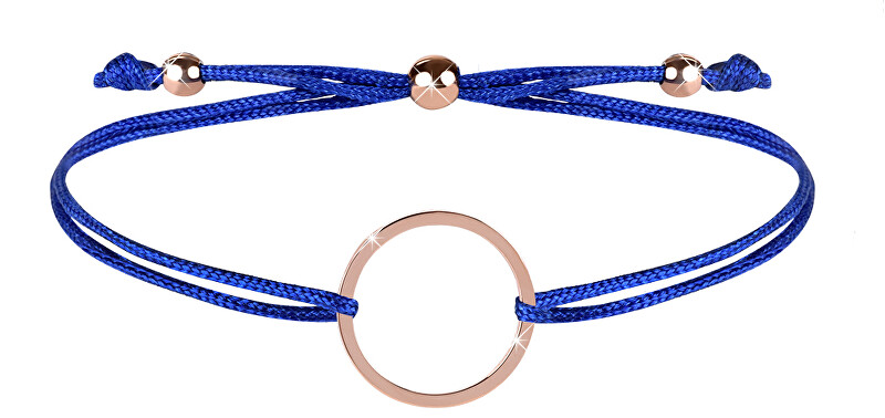 Troli Šňůrkový náramek s kruhem modrá/bronzová TO2482