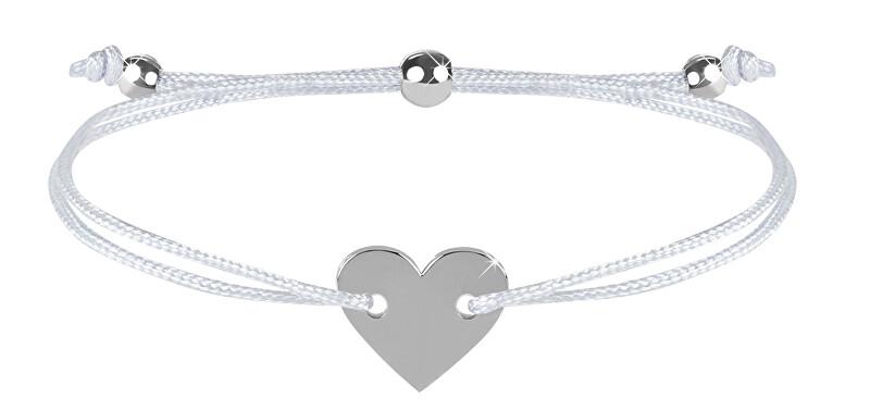 Troli Šňůrkový náramek se srdcem bílá/ocelová TO2499