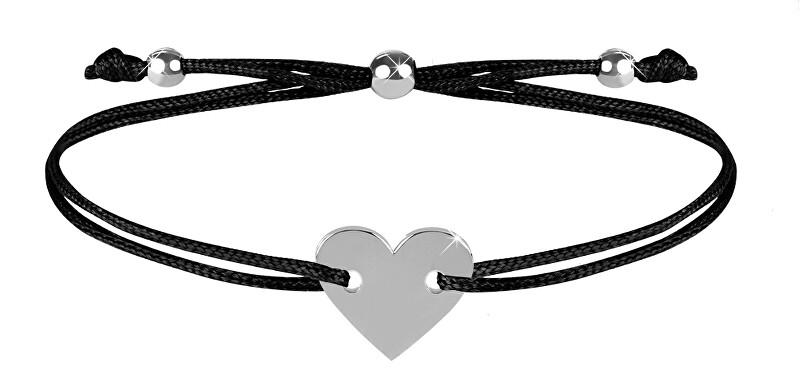 Troli Šňůrkový náramek se srdcem černá/ocelová TO2498