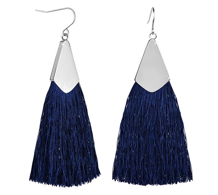 Troli Tmavě modré náušnice střapce s ocelovým háčkem