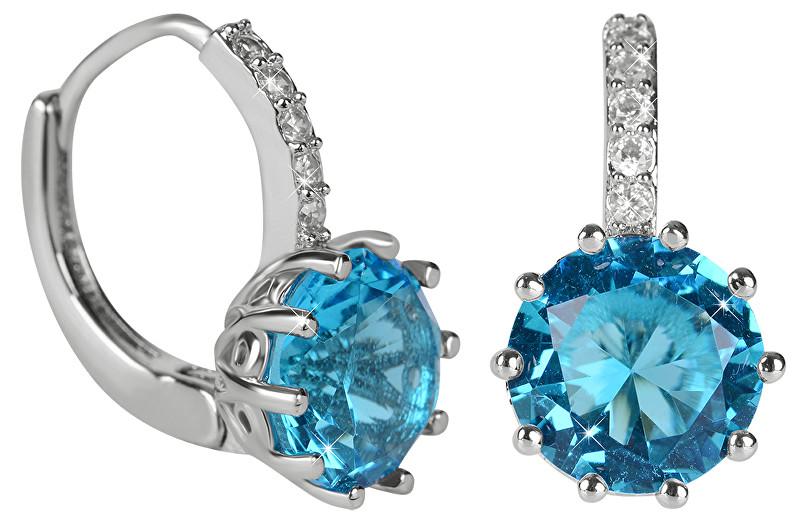 Troli Třpytivé náušnice s modrým krystalem