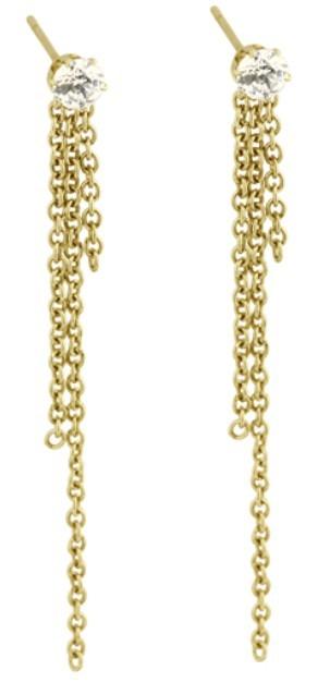 Tribal Dlouhé pozlacené náušnice 2v1 ESS482 Gold