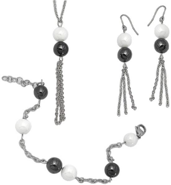Tribal Sada ocelových šperků s keramickými korálky SET011