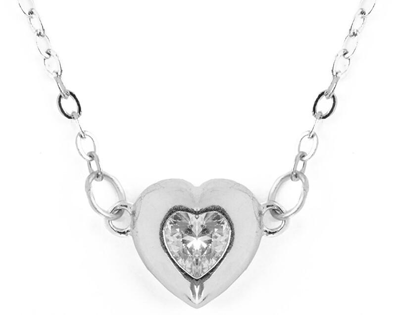 Vuch Krásny oceľový náhrdelník s kryštálom Hearty Love