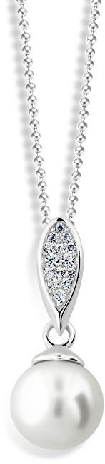 Zodiax Přívěsek z bílého zlata s přírodní perlou a zirkony DLP 3152 W